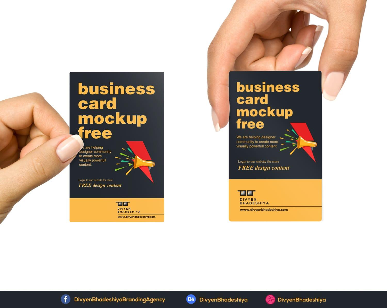 Vertical Business Card Mockup Free - www.divyenbhadeshiya.com