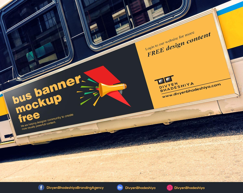 bus banner mockup free www.divyenbhadeshiya.com