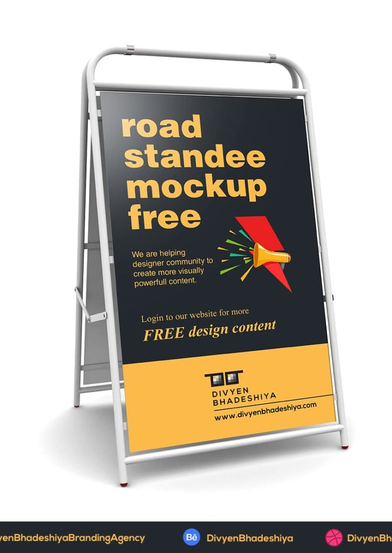 road standee mockup free www.divyenbhadeshiya.com